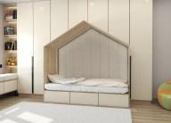 Дизайн детской в теплых тонах. Кровать домиком.