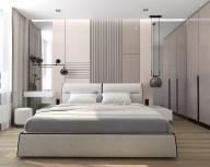 Дизайн спальни в современном стиле. Серо-бежевые тона.