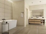Ванная комната с двойным умывальником и отдельно стоящей ванной.