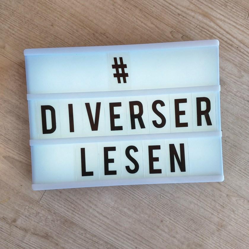 Eine Lightbox mit der Schrift: #diverserlesen