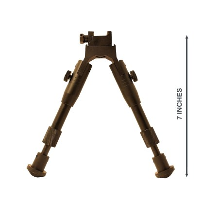"Reference for height of 7"" folding bipod in upright position"