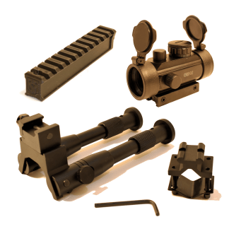 30mm Red Dot, Little Buck Rail, and Bipod for the Daisy Buck 105 bundle