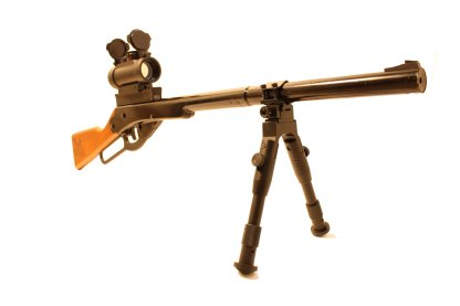 Daisy Buck 105 with 30mm Red Dot, Little Buck Rail, and Folding Bipod Mounted