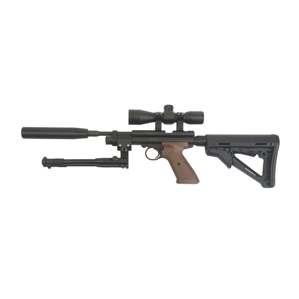 Crosman 2240XL with silencer, bipod, scope, and adjustable AR stock installed.