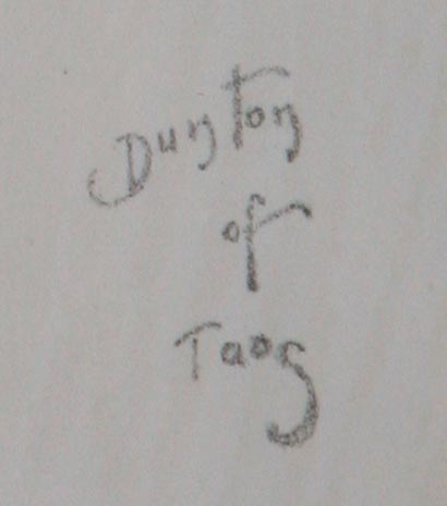 "W. Herbert Dunton's ""Dunton of Taos"" signature from ""Bronco Buster"""