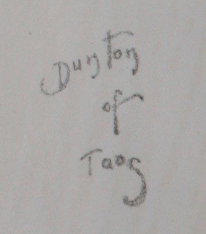 "W. Herbert Dunton's ""Dunton of Taos"" signature from ""Bronco Buster"""