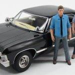 Greenlight 19021 Scale 1 18 Chevrolet Impala Sport Sedan 4 Door With 2 Figures 1967 Supernatural Join The Hunt Black