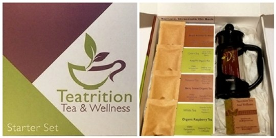 gifting teas starter set from teatrition with tea, press, and instructions