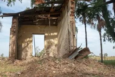 Los restos de la casa donde encontraron el cuerpo de Aramburu