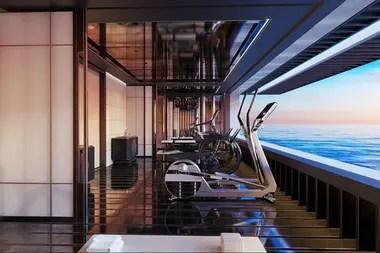 El gimnasio, como casi todo en esta embarcación, cuenta con una relajante vista al mar