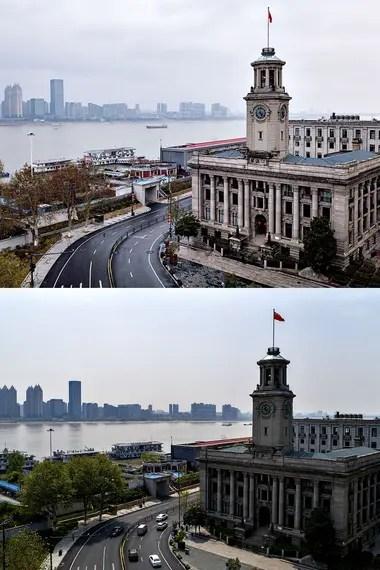 Imagen aérea combinada de la Aduana de Hankow en Wuhan, provincia de Hubei, en el centro de China, el 26 de enero de 2020 (arriba) y el 8 de abril de 2020 (abajo)