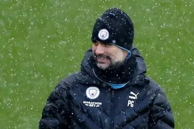 Manchester City manager Pep Guardiola durante el entrenamiento