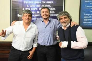 Pablo Moyano, Máximo Kirchner y Walter Correa; el referente camionero es uno de los interlocutores sindicales con el kirchnerismo