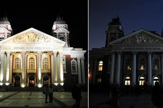 El teatro nacional en Sofía, Bulgaria, estuvo con sus luces apagadas durante una hora. Foto: AFP