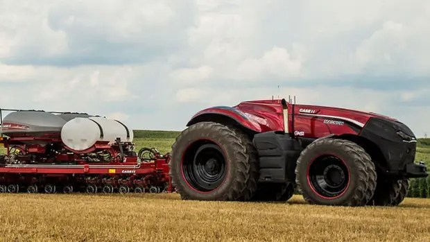 Una vista del tractor autónomo de Case IH