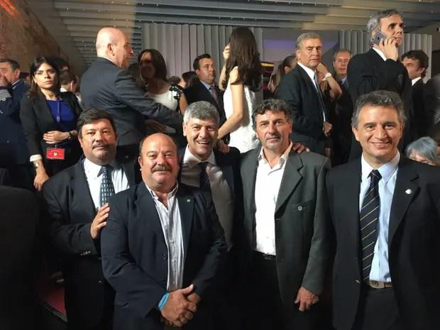 Chiesa (CRA), Mailland (Coninagro), Buryaile, Príncipe (FAA) y Etchevehere (SRA), en la jura de los ministros de Macri