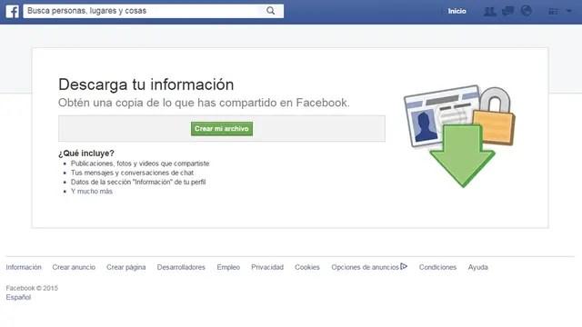 Facebook ofrece una herramienta para descargar la información registrada sobre un usuario