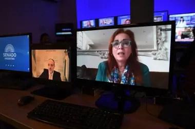 La fiscal Gabriel Boquín, durante la audiencia virtual del Senado