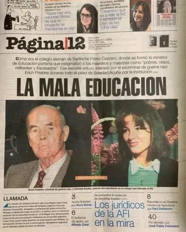 La tapa de Página/12 con Soledad Acuña y el exoficial nazi Erich Priebke