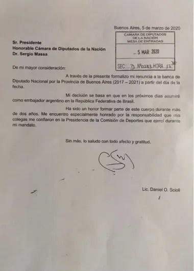 La renuncia de Daniel Scioli a su banca en la Cámara de Diputados