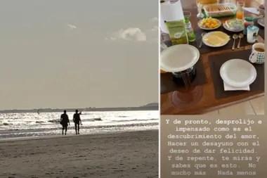 Fotos en el mar y desayuno romántico, las vacaciones de Luis Novaresio y Braulio Bauab