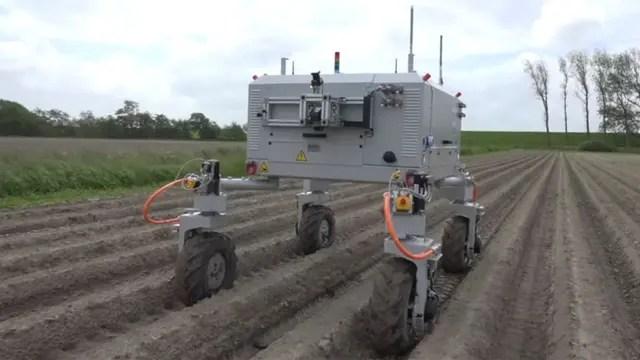 Bosch puso a prueba a BoniRob, un vehículo autónomo con módulos intercambiables para analizar cultivos e identificar malas hierbas