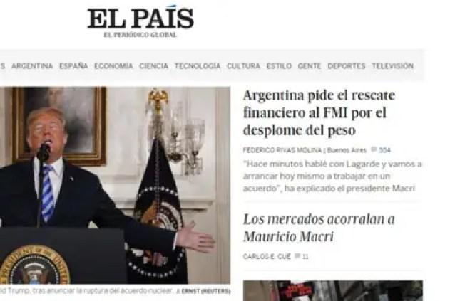 La portada de ElPaís.com