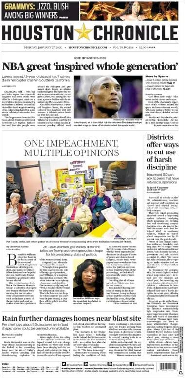 La tapa del Houston Chronicle