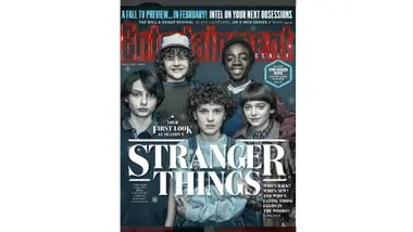 The last magazine cover of Brown next to his fellow Stranger Things
