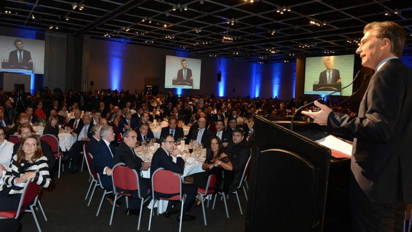 Macri encabezó anoche la cena de Cipper. Foto: Presidencia