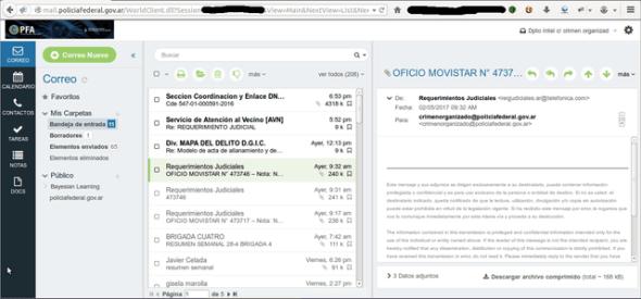 Una de las pruebas que dieron los hackers de su capacidad para acceder al mail del Ministerio de Seguridad
