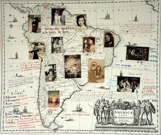 MARCELO BRODSKY. Detalle de la instalación Mito fundacional (2014), que apela a una historia de vida para hablar sobre las raíces del conflicto armado en Colombia