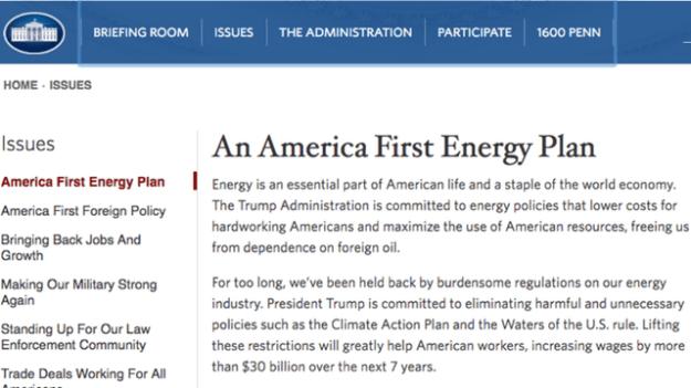 Trump eliminó la sección de ecología y puso una dedicada al desarrollo de la industria petrolera