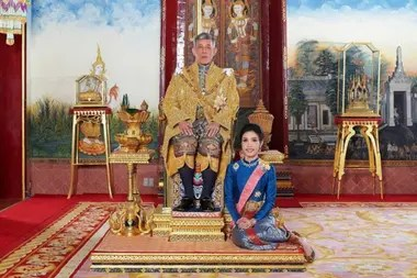 Sineenatra Wongvajirabhakdi, the royal consort, here with Rama X, before his fall from grace in October 2019
