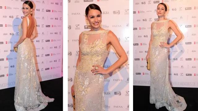 Pampita lució un vestido largo, color champagne, romántico y sexy