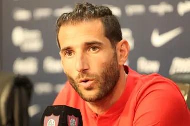 Piatti, durante su presentación en la sala de conferencias del estadio de San Lorenzo