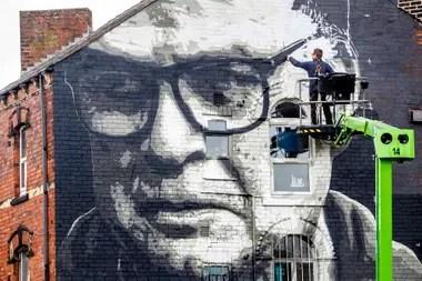 Un mural de Bielsa, de los tantos que hay en las calles de Leeds.