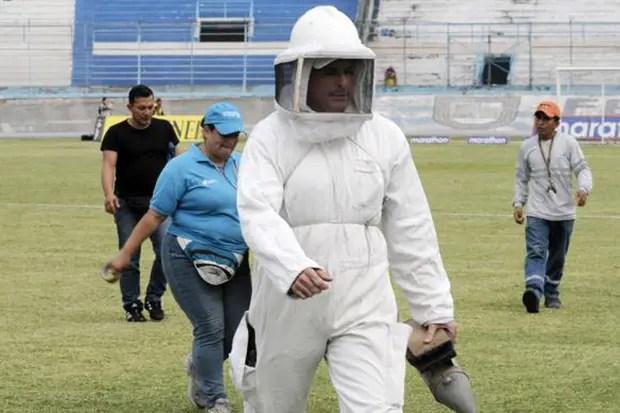 Der Imker erfolglos Versucht, Bienen abzuwehren