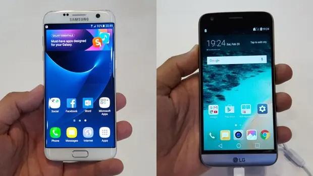 Un Samsung Galaxy S7 y un LG G5