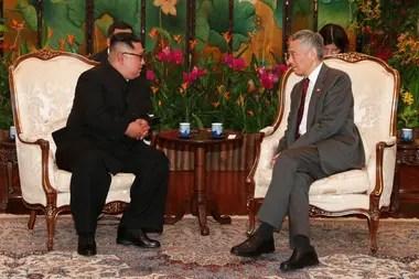 Kim Jong-un y el primer ministro de Singapur