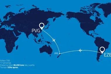 La ruta trazada para el primer vuelo de Aerolíneas Argentinas a Shanghai
