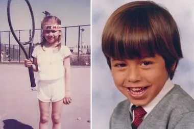 Anna Kournikova de pequeña, con su primera raqueta de tenis, y Enrique Iglesias durante su infancia