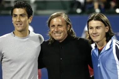 """""""Willy"""" Cañas y """"El Mago"""" Coria con Guillermo Vilas"""