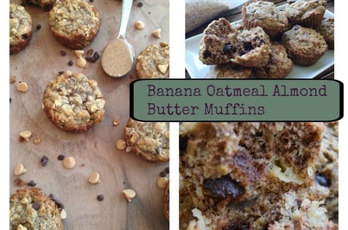 Banana Oatmeal Almond Butter Muffins (Gluten Free)