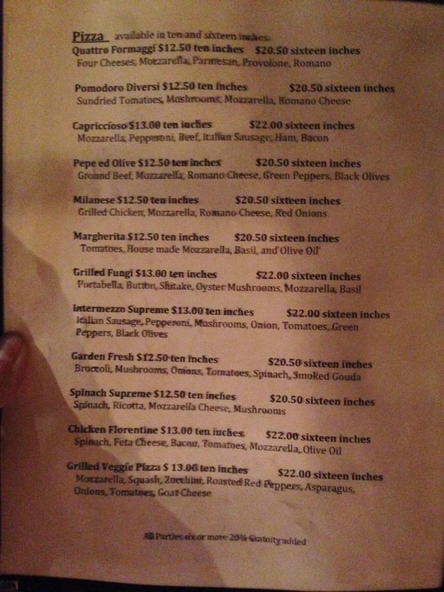 Intermezzo menu