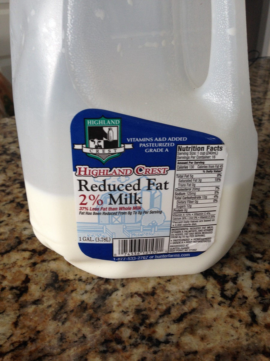 We currently have 2% milk in our house.