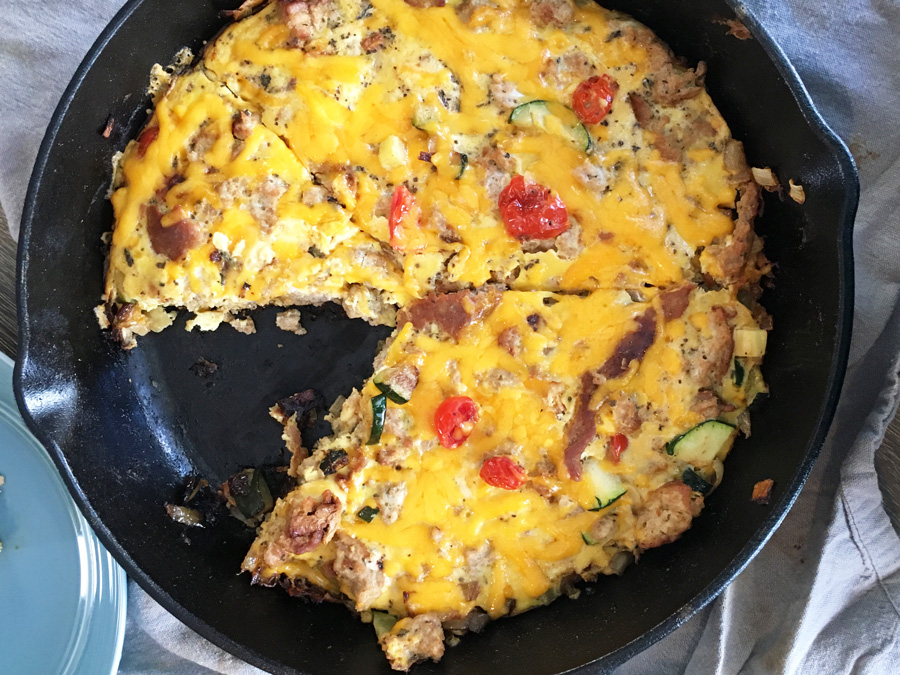 Cheesy Veggie Turkey Frittata, Easy Frittata