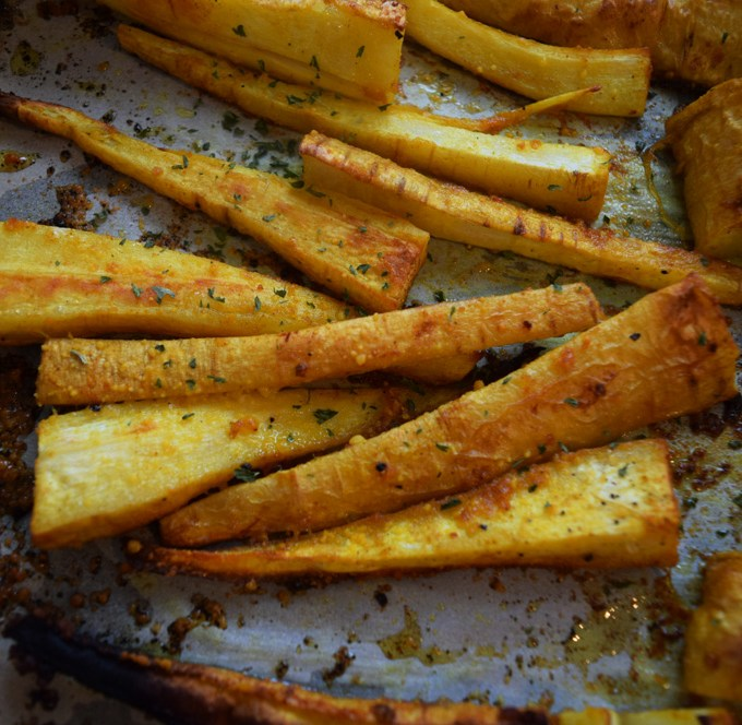 Roasted Garlic Turmeric Parsnip Fries