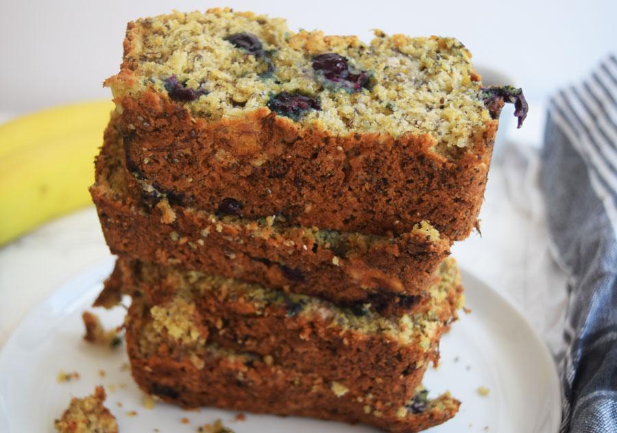 Banana Blueberry Chia Bread | Healthy, Low Sugar Bread