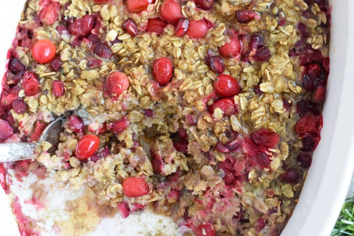 This Cranberry Pomegranate Baked Oatmeal is bursting with flavor and the perfect winter make-ahead breakfast option for the holidays!